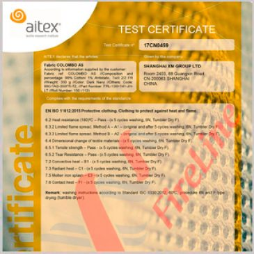 Colombo renews to ISO 11612:2015 certificate